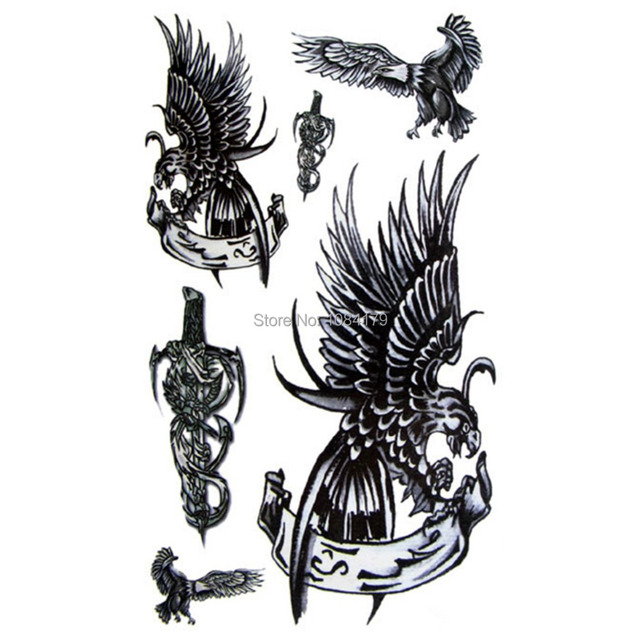 Temporary Tattoo Body Art The Eagle Wings Waterproof For Man Chest