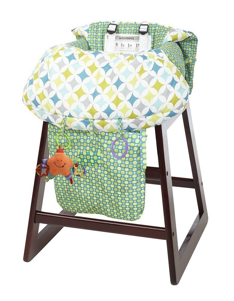 Зеленая складная детская корзина Подушка Детская подставка на колесиках детская тележка Защитная крышка детский стульчик коврик