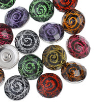 10Pcs Mixed Colors Acrylic Snap Buttons Press Click Charm Spiral Pattern DIY 18mm