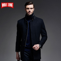Hot Business Casual Woolen Long Windproof Men Coat Wool Winter Keep Warm Mens Slim Fashion Single Breasted Male Overcoat Jacket
