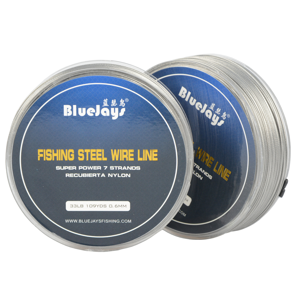 BlueJays 100M 13lb-33lb Fishing Steel Wire Fishing Lines Max Power 7 Strands Super Soft Wire Lines Cover With Plastic Waterproof