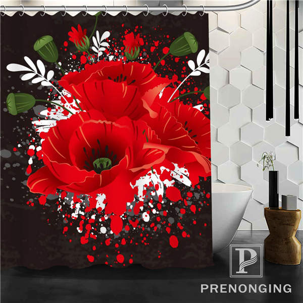 Aliexpress.com : Buy Red Black Flowers Shower Curtain Fabric Waterproof Mildewproof Modern