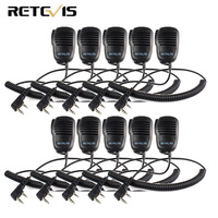 10pcs 2 Pin PTT Speaker Mic For KENWOOD BAOFENG UV 5R BF 888S RETEVIS H777 RT5R RT3 RT5 RT22 RT24 Walkie Talkie C9021A