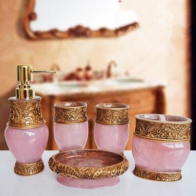 Résine salle de bains accessoires ensemble 5 pièces porte-brosse à dents Lotion distributeur savon anniversaire mariage cadeau décoration de la maison