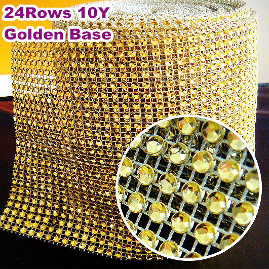 Gold Wedding Diamond Sparkle Rhinestone Mesh Trim 4mm 10yards 24 rows  Plastic base Party Decorations Cake Ribbon Strass B2227 3e8706d4216a