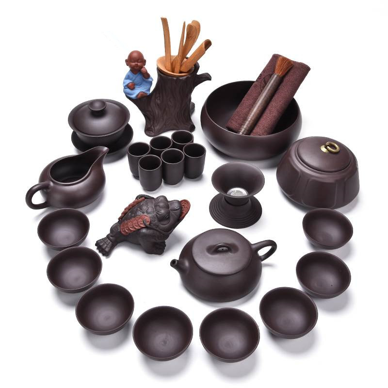 Complete set of Yixing Zisha pot Kungfu drinking tea household tray teapot ceremony accessories