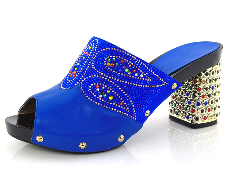 ФОТО royal blue most popular design African sandals for party,guaranteed quality ladies shoes with rhinestones!! HBQ1-40