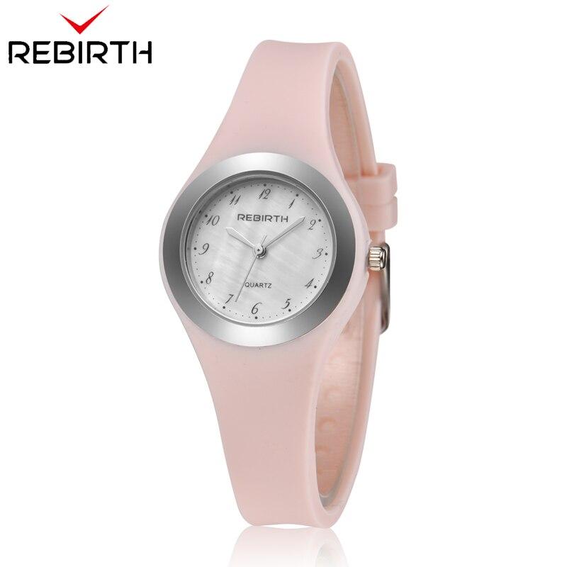 REBIRTH 2018 Luxury Women Watch Top Brand Silicone Strap Ladies Quartz Wristwatch Ladies Women Wrist Watches Relogio Femininos(China)