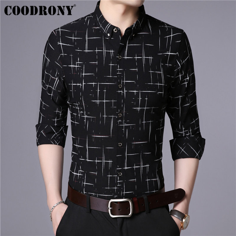COODRONY Men Shirt Autumn New Arrival Fashion Striped Long Sleeve Cotton Shirt Men Business Casual Shirts Camisa Masculina 96030