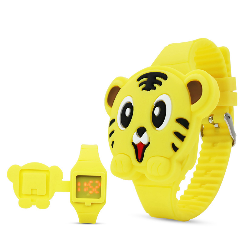 JOYROX Flip Cover 3D Tiger Cartoon Electronic Child Watch Digital Kids Watch Rubber For Boy Girls Student Children Clock Enfant