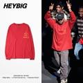 Kanye clothing HEYBIG men 2016 hot I feel like Youth Hip hop T-shirts Long sleeved Tee Asian Size Shirts Crewneck Tops