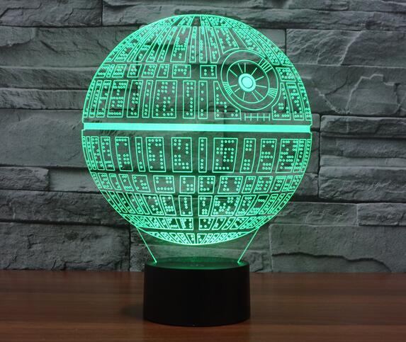 Star Wars Death Star 3D Deco Light Lamp Shade Darth maul R2D2 BB8 Rogue One Star Wars 7 Colors Changing For Christmas Gifts Toys  star wars bb8 droid 3d bulbing light toys new 7 color changing visual illusion led decor lamp darth vader millennium falcon toy