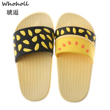Whoholl 2019 New Summer Fashion Beach Slippers Imitation Straw Non-slip Harajuku Cartoon Small Pineapple Flat Womens 44