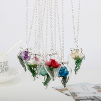 2017 Romantic Love Movie Necklace Beauty And The Beast Necklace Wishing Rose Flower In Glass Chain