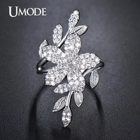 UMODE Cocktail Ring White Gold Plated Top Grade AAA CZ Flower Shaped Adjustable Finger Rings For