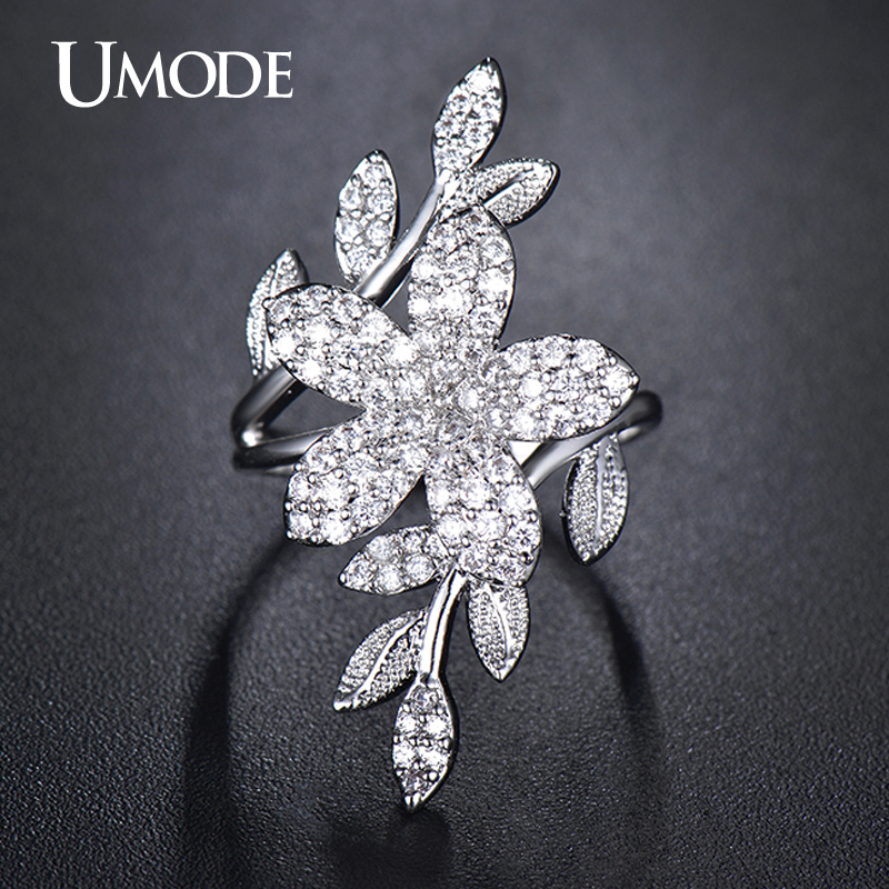 UMODE Cocktail Ring White Gold Color Top Grade AAA CZ Flower Shaped Adjustable Finger Rings For Women Fashion Jewelry AUR0269