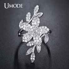 UMODE Cocktail Ring White Gold Color Top Grade AAA CZ Flower Shaped Adjustable Finger Rings For