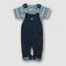 hot deal buy 2pcs denim baby clothing set new born clothing set kids overalls boys short sleeve striped tops and suspender trousers pant 2pcs