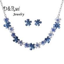 купить Fashion Flower Enamel Jewelry Sets Silver Rose Gold Color Chain Necklace Set Classic Women's Wedding Stud Earrings Dropshipping по цене 329.32 рублей