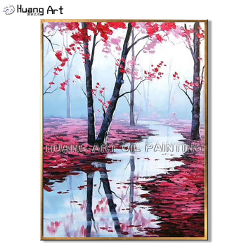 Handmade Decor Painting Art Lakeside Landscape Oil Painting on Canvas for Bedroom Modern Beautiful Pink Tree Landscape Painting фото