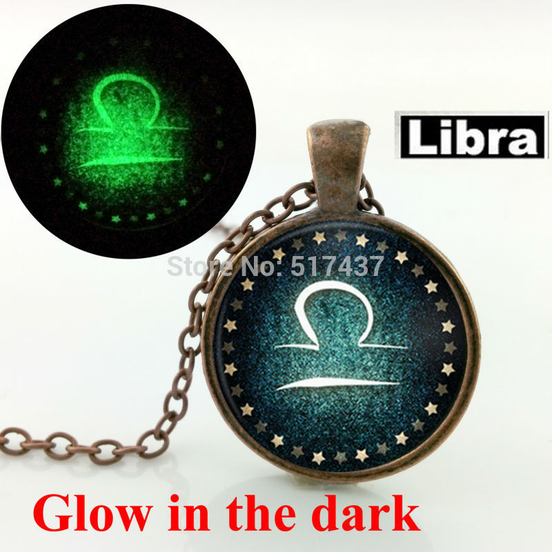 Glow in the dark jewelry Scorpio Necklace Libra Zodiac Sign Constellation Jewelry glass art photo glowing necklace pendant