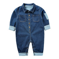 Baby Spring And Autumn Cowboy Baby Jumpsuit Boys Girls Clothing New Cotton Pocket Button Decoration Long