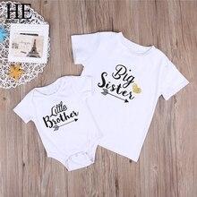 HE Hello Enjoy Big Sister Little Brother juego trajes familia camiseta estampado letras chicas Tops niño niños bebés niños mamelucos