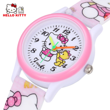 Cartoon Clock Hello Kitty Watch Girl Children Lovely Pink Dress Wrist Watch Kids Cute Child Brand Silicone Relogio Montre Enfant