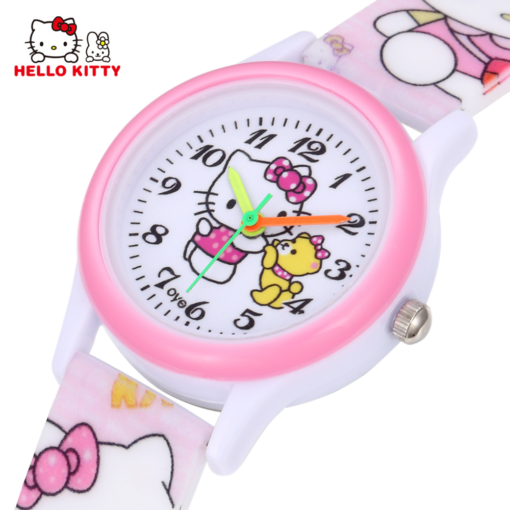 Hello Kitty Kids Watches Girls Children Pink Dress Wrist Watch Cute Child Cartoon Silicone Baby Clock Saat Relogio Montre Enfant 2017 hello kitty cartoon watches kid girls leather straps wristwatch children hellokitty quartz watch montre enfant