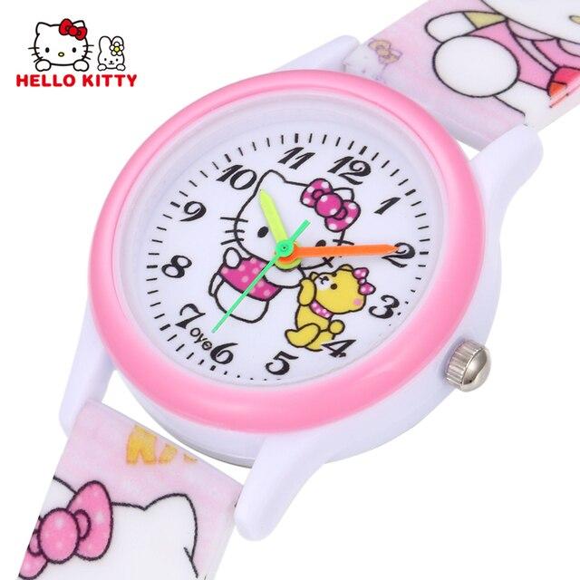 553a17c85bf Olá Kitty Crianças Relógios Crianças Meninas Rosa Vestido de Relógio de  Pulso Criança Bonito Dos Desenhos