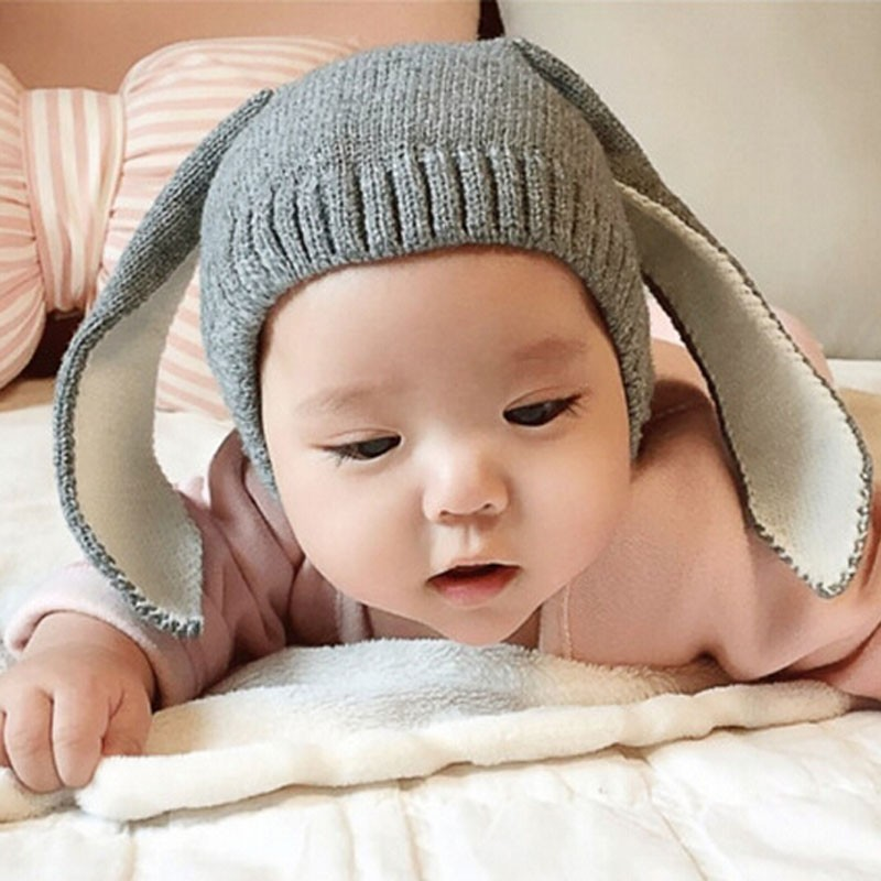 Autumn Winter Toddler Infant Knitted Baby Hat Adorable Rabbit Long Ear Hat Baby Bunny Beanie Cap Photo Props Hip Hop Skullies