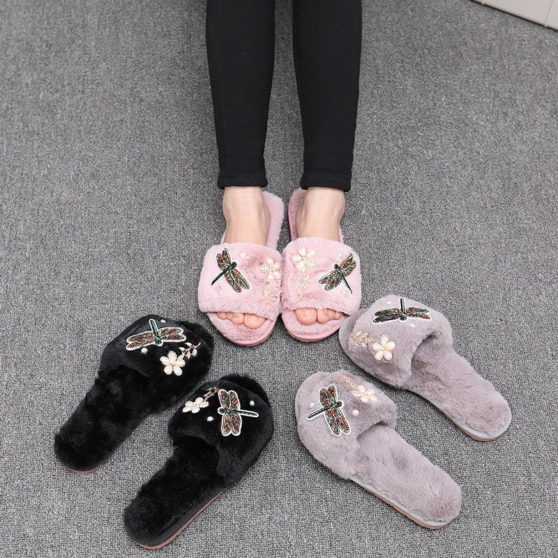 все цены на Winter Women Slippers Appliques Home Faux Fur Shoes Woman Anti-slip Flat With Female Comfortable Fur Flip Flops Soft Slippers