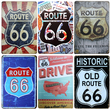 Chic Home Bar Mother ROUTE 66 Vintage Metal Signs Home Decor Vintage Tin Signs Pub Vintage Decorative Plates Metal Wall Art