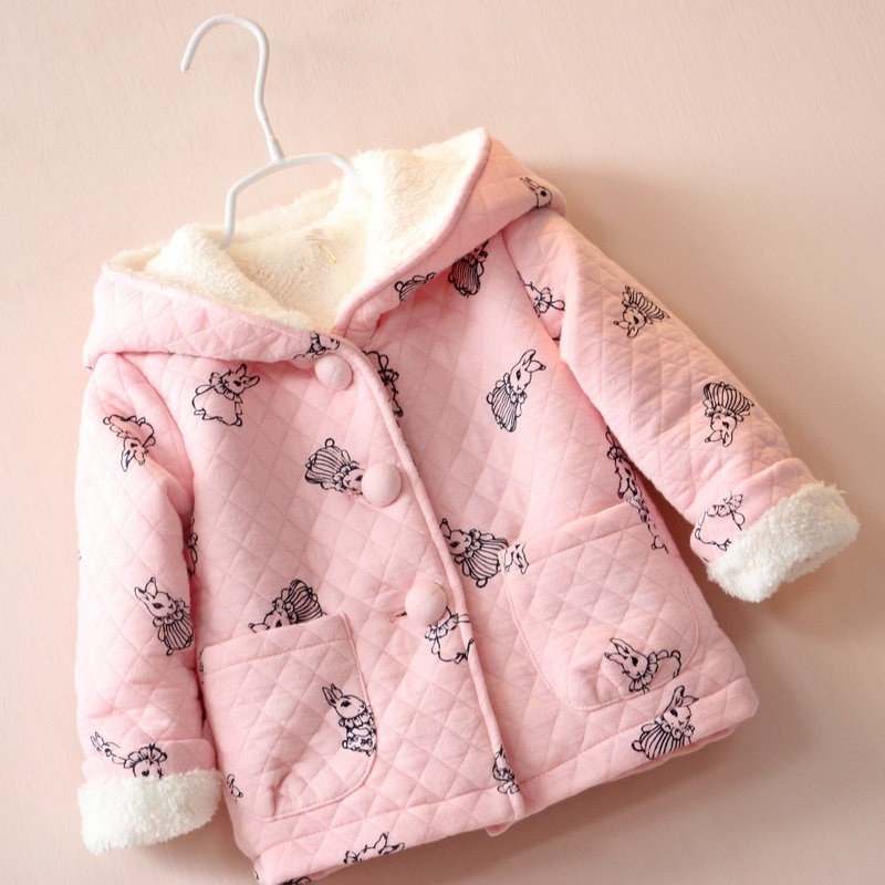 BibiCola autumn winter children cartoon rabbit pink clothing baby girls jacket coats thick cute hooded jacket kids outerwear