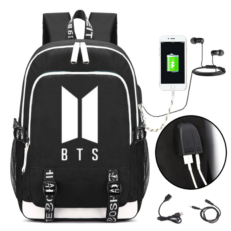 KPOP BTS Logo Backpack Bangtan Boys School Shoulder Bag Jimin Jung Kook JIN bts kpop pu kpop bangtan boys schoolbag women bookbag shoulder bts exo xxoo got7 b a p bigbang tourism student canvas
