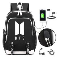 KPOP BTS Logo Backpack Bangtan Boys School Shoulder Bag Jimin Jung Kook JIN