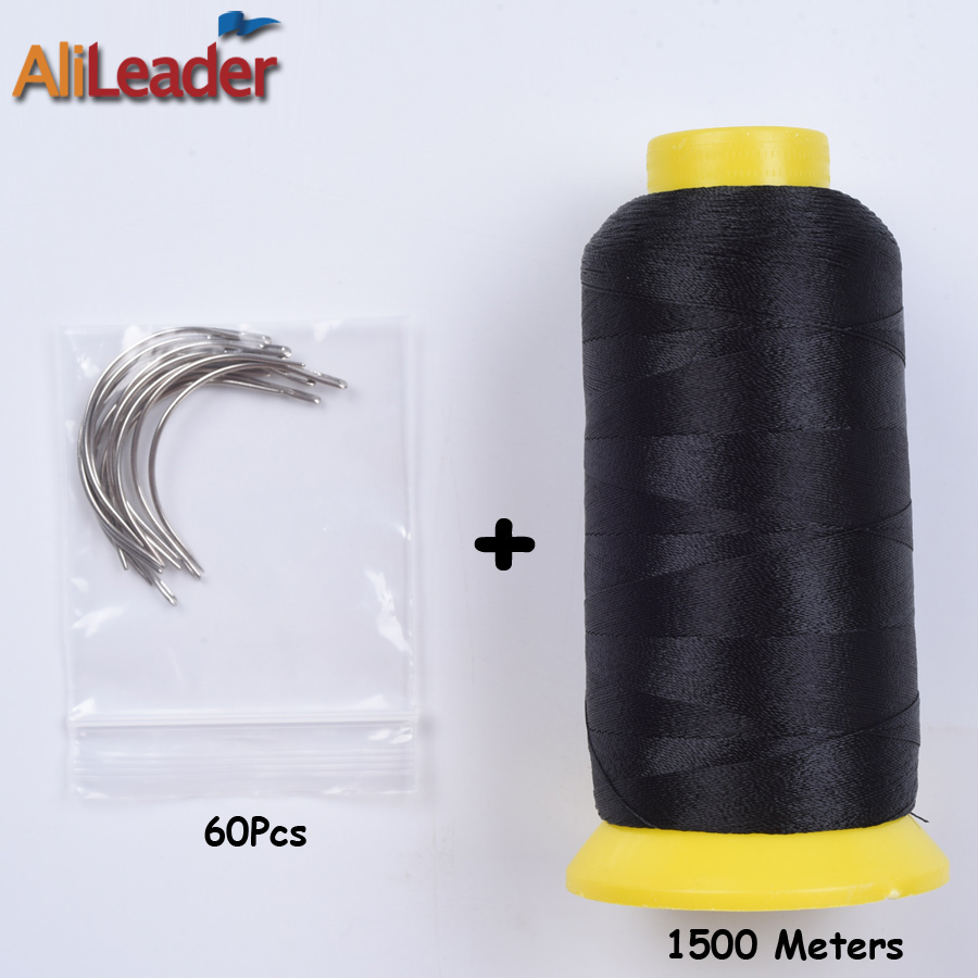 1500 Meters Brown Black Nylon Hair Weaving Thread With Hair Weaving Needle, 60Pcs Wig Needles For Professional Wig Making Tools ...