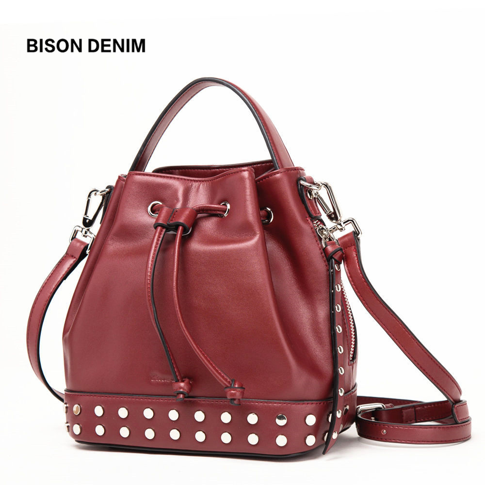 BISON DENIM Leather Women Bag luxury handbags women bags designer Bucket Shoulder Bag Crossbody Bag bolsa feminina N1359 bison denim brand women bags genuine leather shoulder bag female for women 2018 luxury crossbody bag bolsa feminina n1560