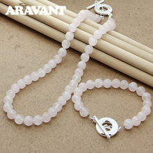 Pearl Necklace Bracelet Jewelry-Set Women for Fashion Pink Natural-Freshwater-Pearl