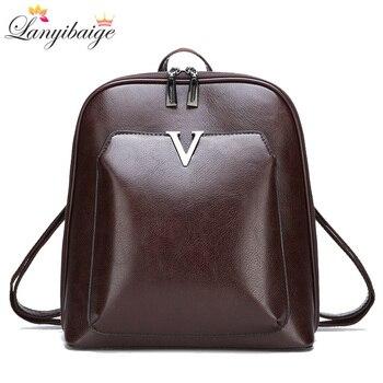 c453387773e4 2018 Новый женский винтажный рюкзак брендовая роскошная кожаная женская  сумка на плечо большой емкости школьная сумка для девочки Досуг Backpac