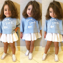 Baby Girl Clothes Long Sleeve T-shirt+skirt 2 Piece Set Girl Casual Sweatshirt Top With White Skirt Set 2018 цены онлайн