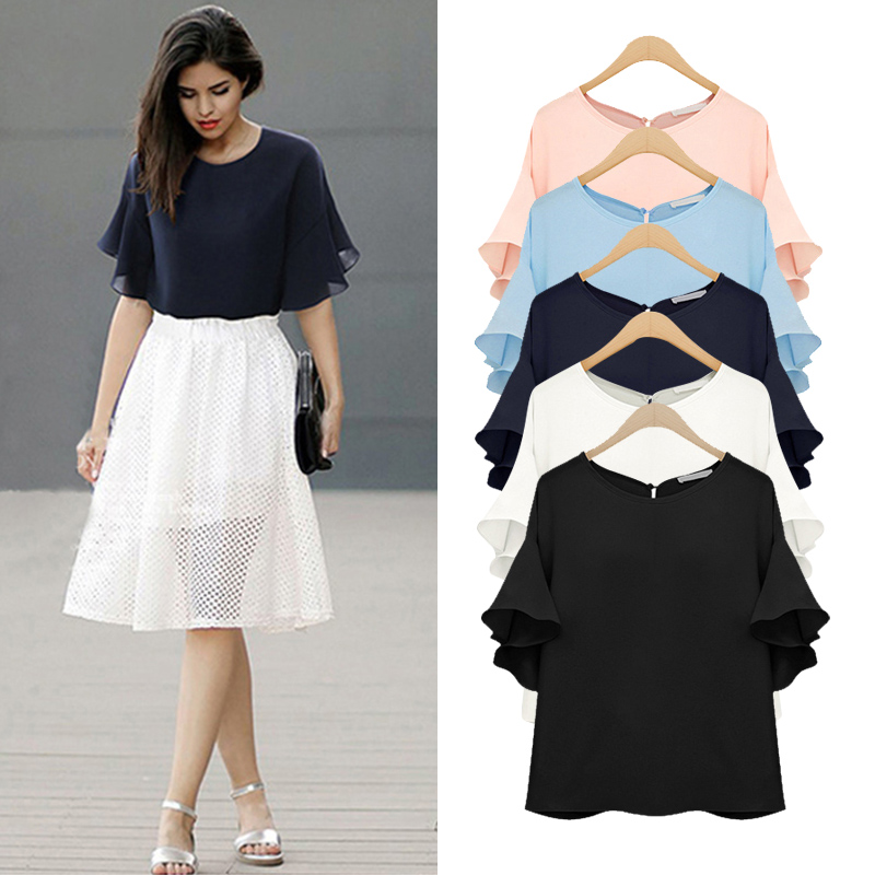 Big size chiffon   blouses   Summer female plus size butterfly sleeve casual loose   blouse     shirt   navy black white pink sky blue