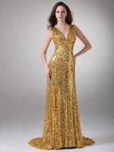 Gold Pailletten V-ausschnitt Sleeveless V-ausschnitt College Formale Abendkleider 2016 Kleider Elegante Mädchen Kleider Für Besondere Anlässe