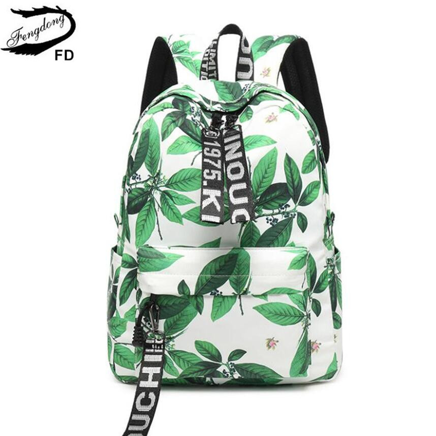 Fengdong school bags for teenage girls cute leave printing schoolbag backpack children backpacks female laptop bag dropshipping