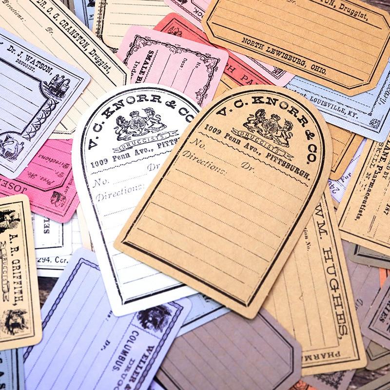 48pcs/Pack Vintage Kraft Paper Sticker Scrapbooking Creative Diy Bullet Journal Decorative Adhesive Label Stationery Supplies