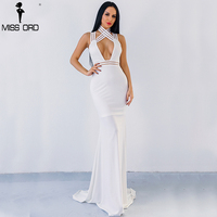 Missord 2017 Sexy High Neck Open Front Off Shoulder Backless Cross Maxi Solid Color Dress FT8798