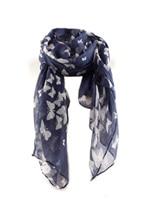 Women's Butterfly Print Neck Wrap Shawl Scarf (Dark blue)