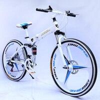 26 Inch 21 Speed Folding Mountain Bike Front And Rear Mechanical Disc Brake Adult Men Bicicleta