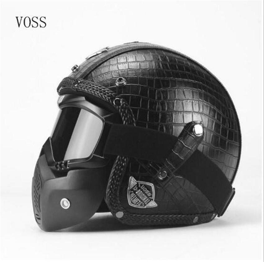 Half Open Face Motorcycle Helmet with Goggles Visor Scarf Biker Scooter Touring Helmet for Harley S M L XL XXL size moto casco