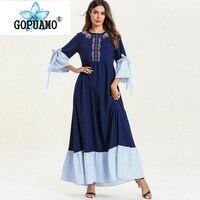 Dubai Abayas For Women Plus Size Bangladesh Turkish Kaftan Islamic Clothes Embroidery Long Sleeve Muslim Dress Fashion Blue Robe